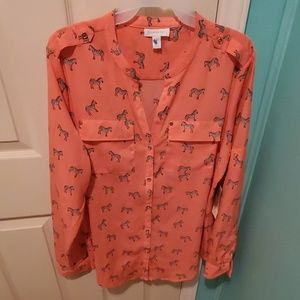 NTW Charter Club Zebra blouse Coral / pinkish